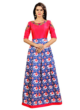 Pink N Blue Art Silk Gown