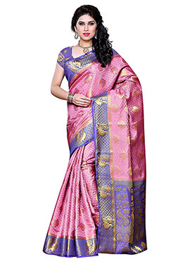 Pink N Blue Art Silk Saree