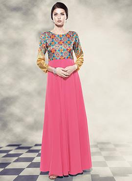 Pink N Blue Digital Printed Anarkali Gown