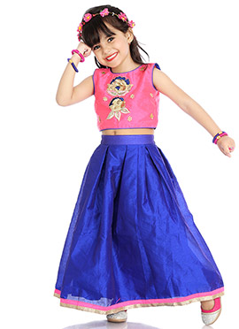 Pink N Blue Embroidered Kids Skirt Set