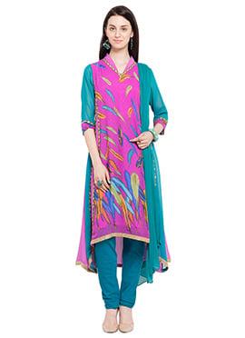 Pink N Blue Georgette Anarkali suit