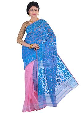 Pink N Blue Jamdani Muslin Silk Half N Half Saree