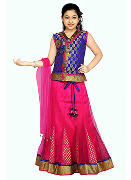 Pink N Blue Kids Long Choli A Line Lehenga