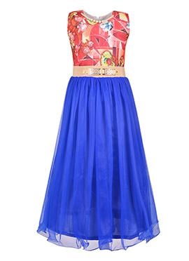 Pink N Blue Net Kids Gown
