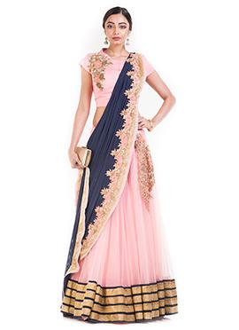 Pink N Blue Net Umbrella Lehenga