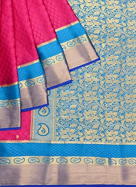 Pink N Blue Pure Handloom Mysore Silk Saree