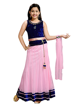 Pink N Blue Teens Lehenga Choli