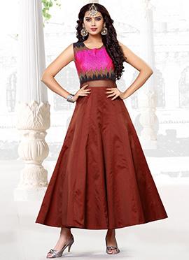 Pink N Brown Anarkali Gown