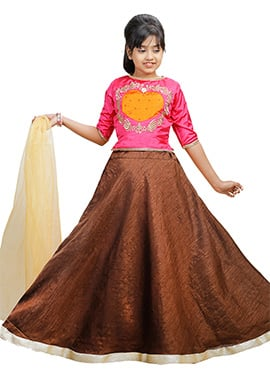 Pink N Brown Art Silk Kids A Line Lehenga