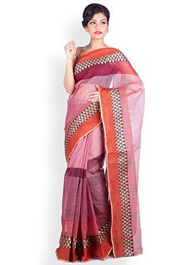 Pink N Brown Cotton Saree