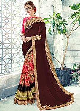 Pink N Brown Embroidered Half N Half Saree