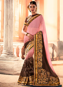 Pink N Brown Embroidered Saree