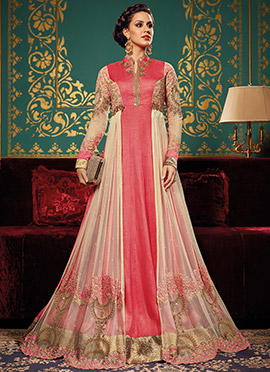 Pink N Cream Art Silk Abaya Style Anarkali Suit