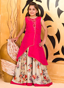 Pink N Cream Art Silk Kids Gown