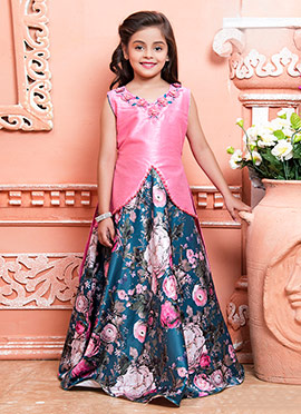 Pink N Peacock Blue Art Silk Kids Gown