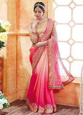 Pink N Cream Art Silk Saree
