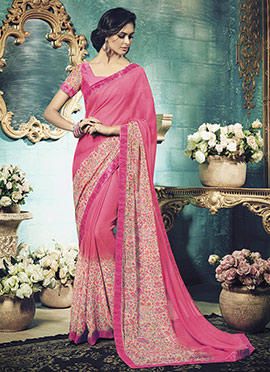 Pink N Cream Chiffon Printed Saree