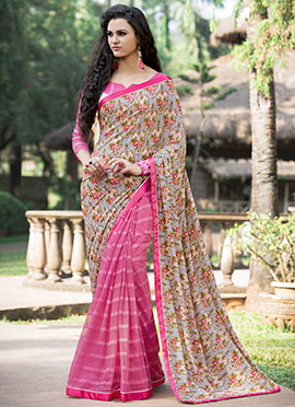 Pink N Cream Half N Half Saree