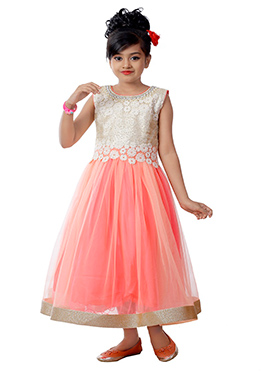 Pink N Cream Net N Art Silk Kids Anarkali Gown