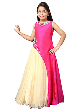 Pink N Cream Net Satin Kids Gown