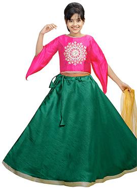 Pink N Dark Green Art Silk Kids A Line Lehenga