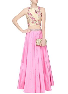 Pink N Gold Art Silk Skirt Set