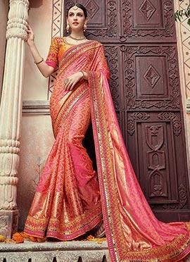 Pink N Gold Bandhini Saree