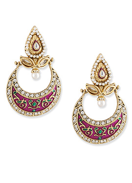 Pink N Gold Colored Chand Bali Earrings
