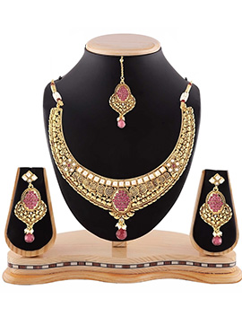 Pink N Golden Necklace Set