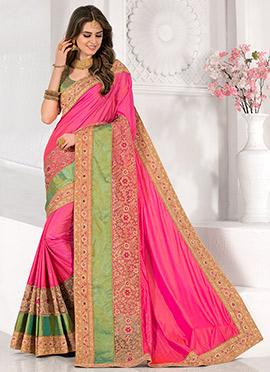 Pink N Green Art Silk Saree