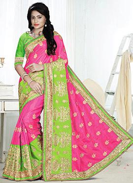 Pink N Green Georgette Saree
