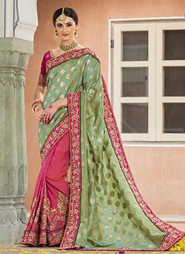 Pink N Green Half N Half Saree