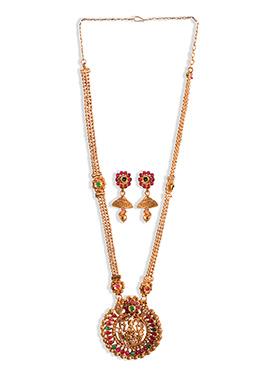 Pink N Green Kundan Necklace Set