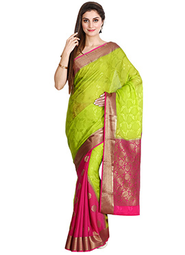 Pink N Green Pure Mysore Silk Saree