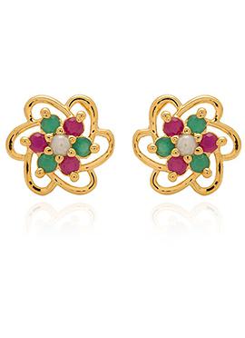 Pink N Green Stones Stud Earring