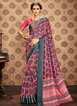 Pink N Grey Art Kota Silk Saree