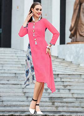Pink N Grey Georgette Kurti