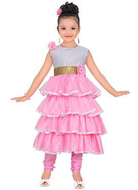 Pink N Grey Satin Net Kids Anarkali Suit