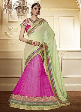 Pink N Light Green Net Lehenga Saree