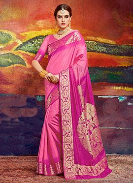 Pink N Magenta Art Silk Saree