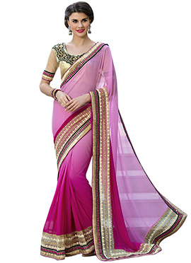 Pink N Magenta Ombre Georgette Border Saree