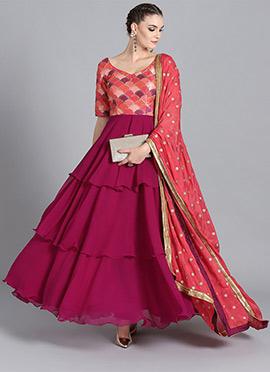 Pink N Magenta Purple Anarkali Suit