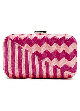 Pink N Purple Stripe Embellished Clutch