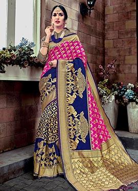 Pink N Navy Blue Art Benarasi Silk Saree