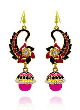 Pink N Navy Blue Meenakari Dangler Earring