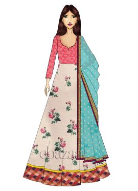 Pink N Off White Abaya Style Anarkali Suit