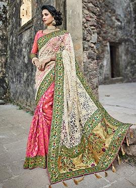 Pink N Off White Art Benarasi Silk Net Saree