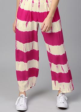 Pink N Off White Cotton Rayon Palazzo Pant