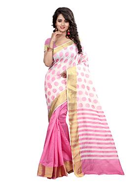 Pink N Off White Half N Half Saree