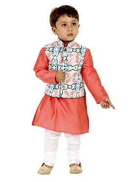 Coral pink N Off White Viscose Kids Bandi Set
